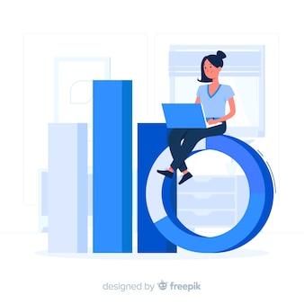 Garota azul com um estilo simples de laptop