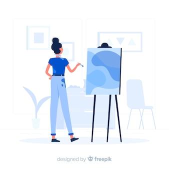 Garota azul, estilo simples de pintura
