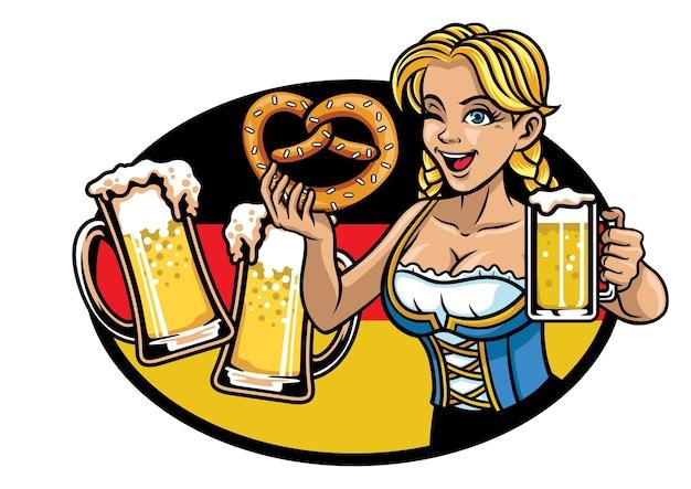 Garota bávara sexy apresentando a cerveja