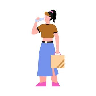 Garota bebe água potável pura da garrafa, uma ilustração vetorial isolada