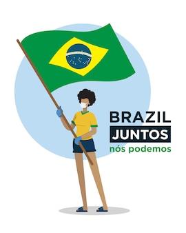 Garota brasileira com bandeira do brasil incentivando pessoas contra o vírus corona