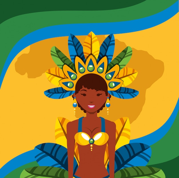 Garota brasileira dançando ilustração de personagem de carnaval
