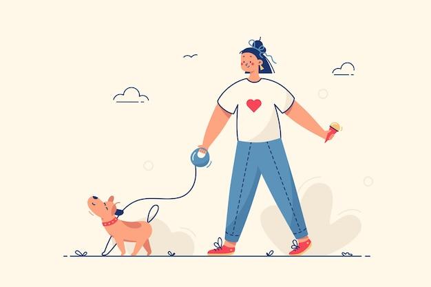 Garota caminhando com ilustração de cachorro