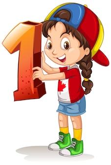 Garota canadense usando boné segurando matemática número um