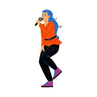 Garota cantando performance com microfone em karaokê ou show de música popular