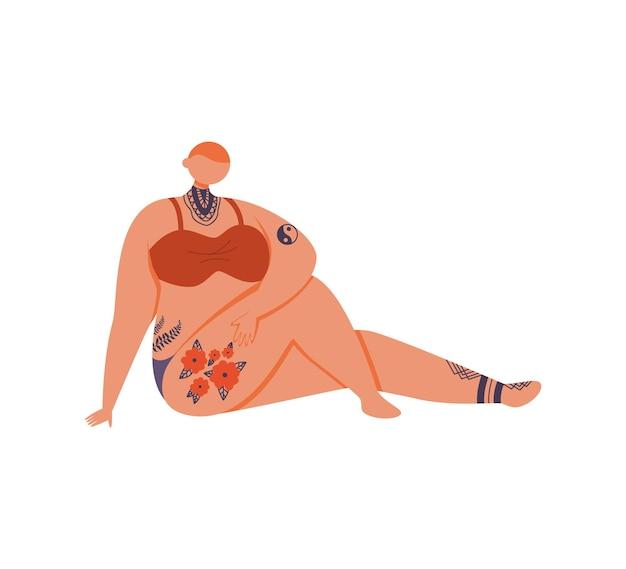 Garota careca tatuada em um maiô sentada, apoiada no braço, ilustração em fundo branco