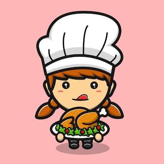 Garota chef fofa fazendo desenho animado de frango frito