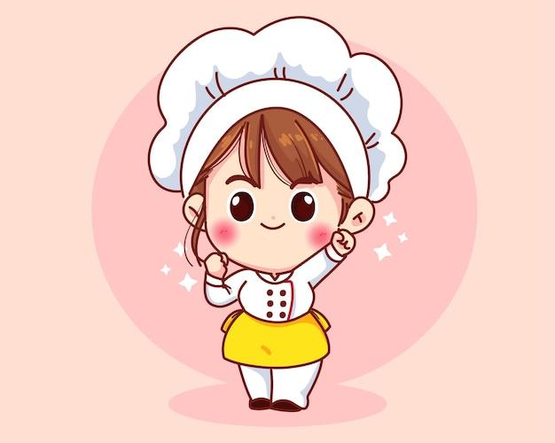 Garota chef fofa sorrindo com mascotes uniformes.