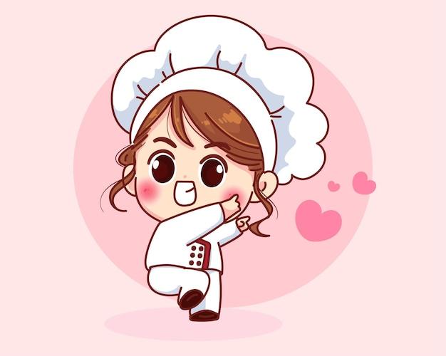 Garota chef fofa sorrindo uniformizada dando as boas-vindas à ilustração da arte dos desenhos animados