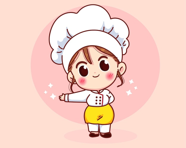 Garota chef fofa sorrindo uniformizada, dando as boas-vindas e convidando seus convidados.