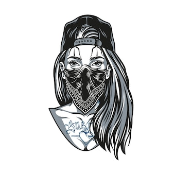 Garota chicana com tatuagens e cabelos longos, usando boné de beisebol e bandana em ilustração vetorial isolado de estilo vintage monocromático