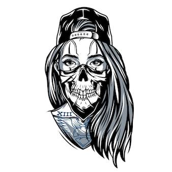 Garota chicano de gangster com máscara de caveira