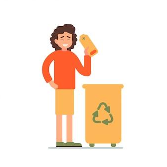 Garota coleta de baterias usadas em uma lixeira para reciclagem