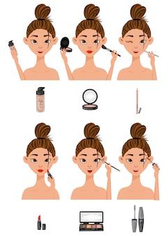 Garota com as etapas de aplicação de maquiagem
