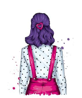 Garota com cabelo lindo em roupas vintage