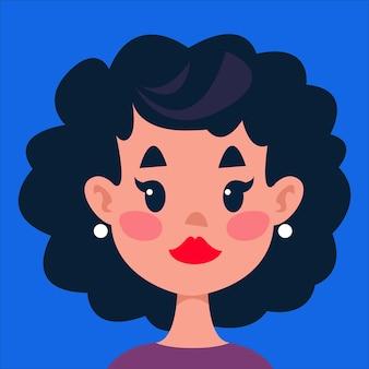 Garota com cabelo preto encaracolado avatar retrato de uma personagem fofa em um fundo azul.
