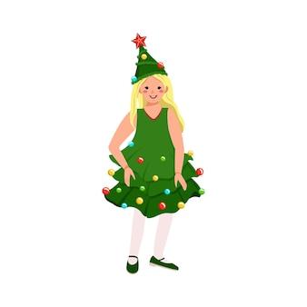 Garota com fantasia de carnaval de árvore de natal. roupas de máscaras festivas com estrela vermelha e guirlanda para teatro, ano novo, natal e feriados. criança com rosto alegre e emoções felizes