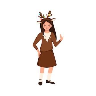 Garota com fantasia de carnaval de cervos roupas festivas para teatro de festa ano novo, natal ou dia das bruxas ...