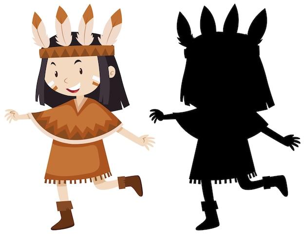 Garota com fantasia de índio americano nativo em cores, contornos e silhueta