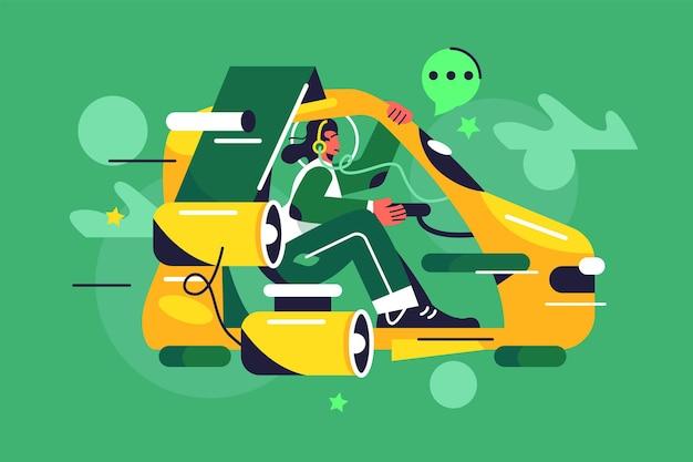 Garota com fones de ouvido voando em um carro voador do futuro, turbinas, levitação