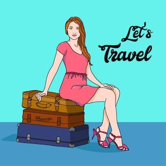 Garota com malas de viagem vamos viajar