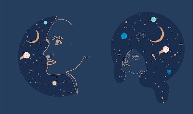 Garota com o universo noite estrelada no cabelo