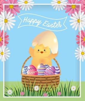 Garota com ovo quebrado e ovos de páscoa dentro da cesta