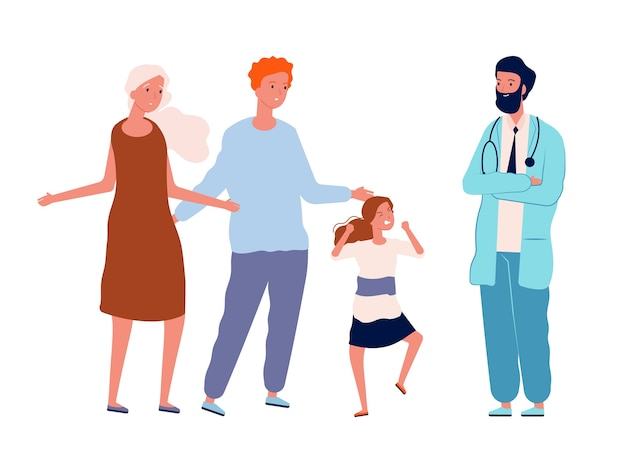 Garota com raiva e pais confusos. visita de podologia, personagens isolados de médico e criança travessa. ilustração da visita da família à clínica, mulher e homem com criança