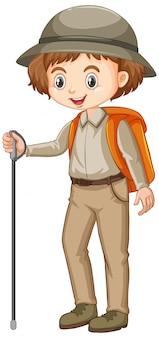 Garota com roupa de safari com bengala e mochila