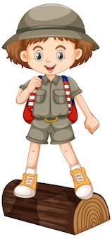 Garota com roupa de safari em pé sobre a ilustração grande log