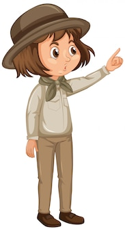 Garota com roupa de safari