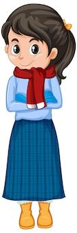 Garota com roupas de inverno em branco