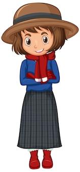 Garota com roupas de inverno