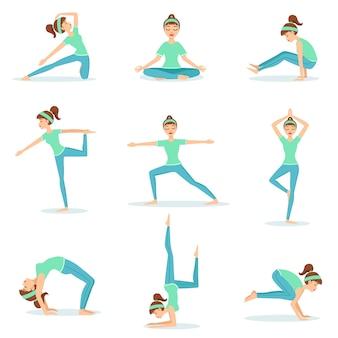 Garota com roupas de treino azul demonstrando posturas de yoga