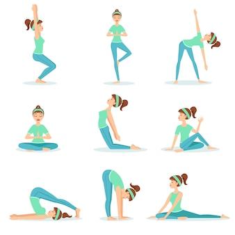 Garota com roupas de treino azul demonstrando yoga asana