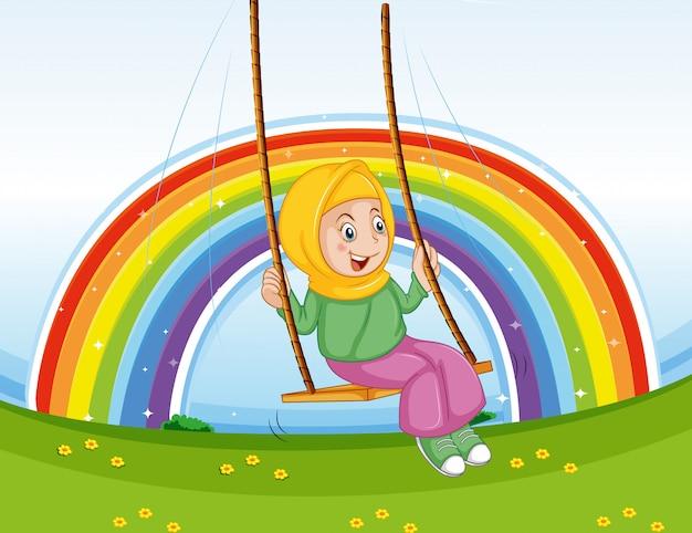 Garota com roupas tradicionais, jogando o balanço com fundo arco-íris