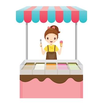 Garota com sorveteria, comida congelada Vetor Premium