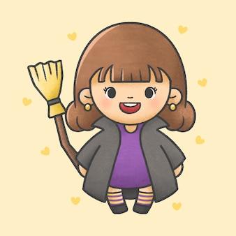 Garota com vestido de bruxa segurando a vassoura mágica traje de halloween estilo cartoon mão desenhada
