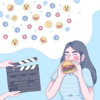 Garota comendo ilustração dos desenhos animados.