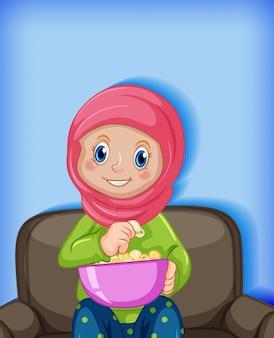 Garota comendo pipoca