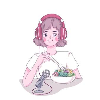 Garota comendo show de ilustração de desenho animado