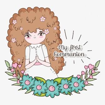 Garota comunhão com vestido e flores plantas