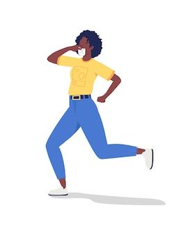 Garota correndo em personagem de vetor de cor semi plana de máscara facial. figura ativa. pessoa de corpo inteiro em branco. fim da quarentena isolada ilustração do estilo dos desenhos animados modernos para design gráfico e animação