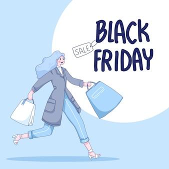 Garota correndo para fazer compras de ilustração de desenho animado