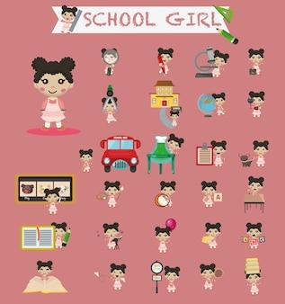 Garota criativa com elementos da escola