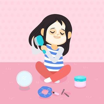 Garota cuidando de si mesma