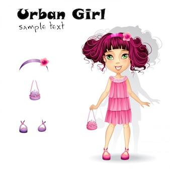 Garota da moda urbana em um vestido rosa para uma festa