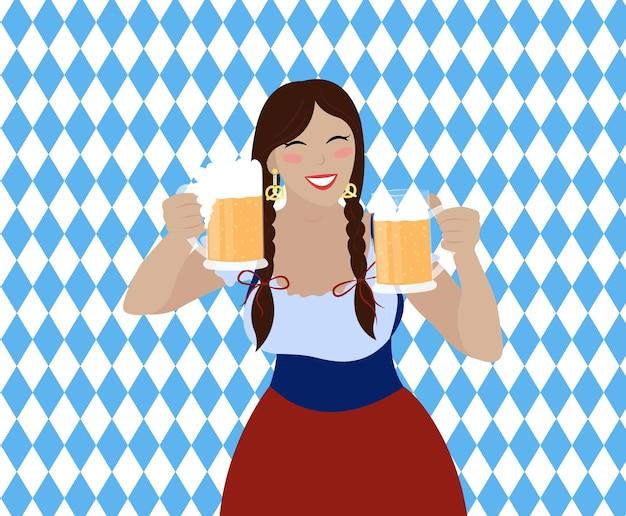 Garota da oktoberfest com canecas de cerveja.