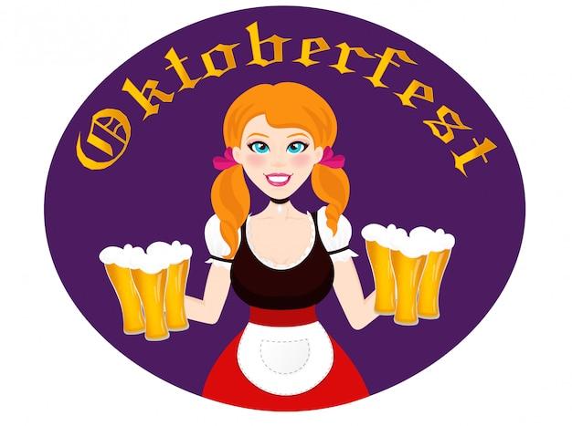 Garota da oktoberfest com cerveja