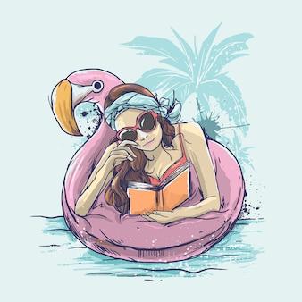 Garota da praia lendo livro com biquíni no flutuador flamingo